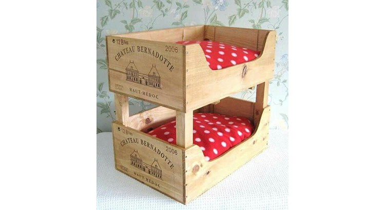 Caisses à vin en lit superposé