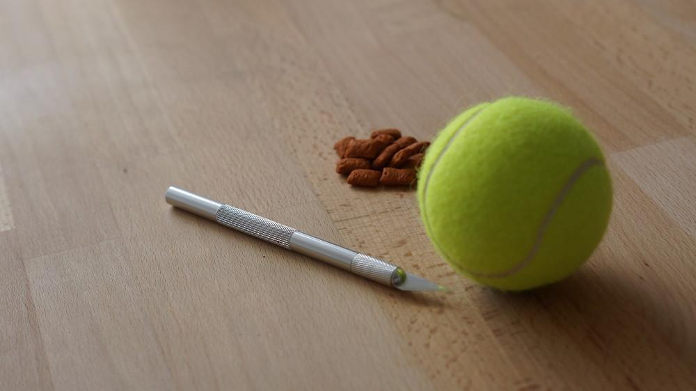 Balle de tennis distributeur de croquettes