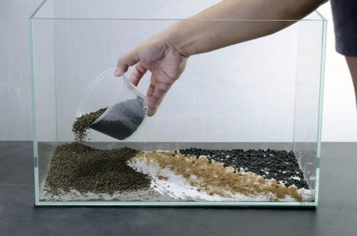 Mise en place du sable et du gravier