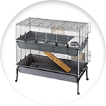 Cage pour lapin sur roulettes