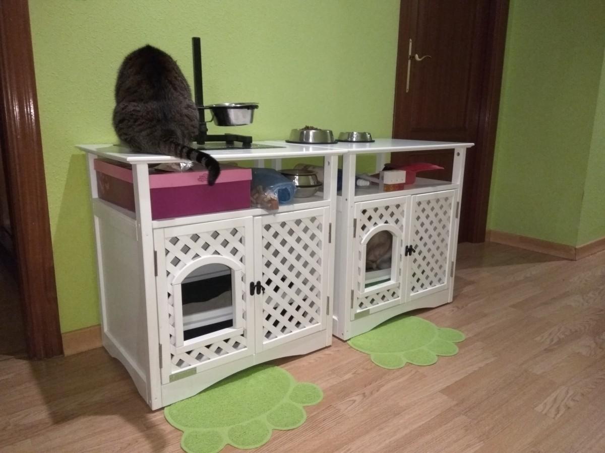 Meuble maison de toilette pour chat helena bac et maison de toilette - Meuble pour chat ...