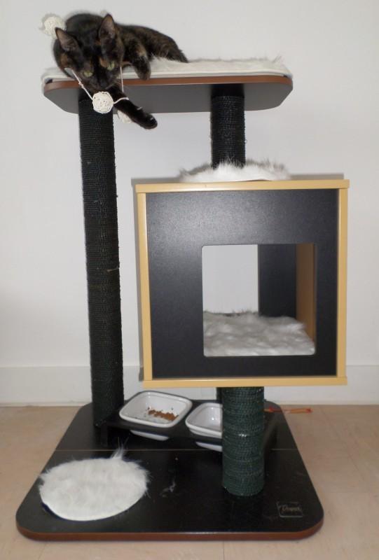 arbre chat vesper v base rouge 60 5x56x81 5cm arbre chat. Black Bedroom Furniture Sets. Home Design Ideas